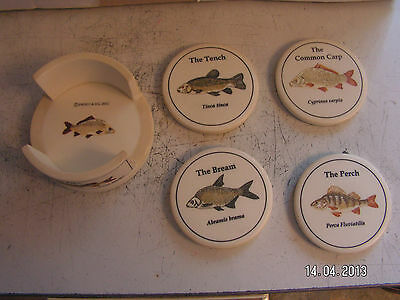 new set of 4 quality coarse fish drinks coasters with coaster holder.