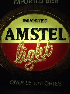 Vintage Amstel Light Beer Lighted Wall Sign Man Cave Bar Brewery