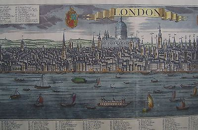 London panorama c1730 hand coloured print with platemark, F W Werner, G B Probst