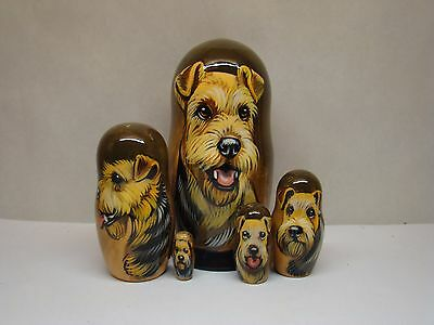 Russian Matryoshka. High quality. Hand-painted Airedale Terrier