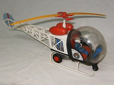 Rare Police Helicopter Tin And Plastic Nomura Tn Toy Japan Litho Friction