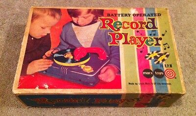 Vintage Children's Record Player Marx Toys Working Boxed 6 Records