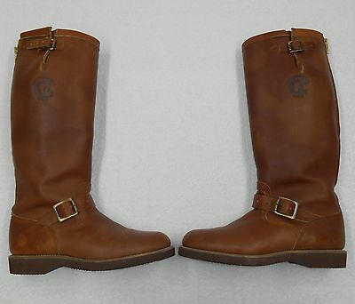 Chippewa Men 8.5 1/2 D Boots Vintage Engineer Motorcycle Leather Snake Hunting