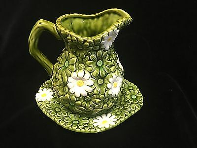 Relpo Japan Ceramic  Jug With Green And White Flowers Cute!!!