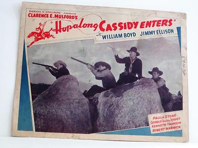1930s HOPALONG CASSIDY ENTERS Lobby Card rerelease Title for HOP-ALONG CASSIDY