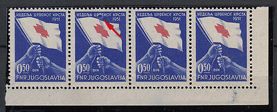 FNR Yugoslavia 1951 ☀ RED CROSS / Charity stamps ☀ MNH strip of 4 with ERROR