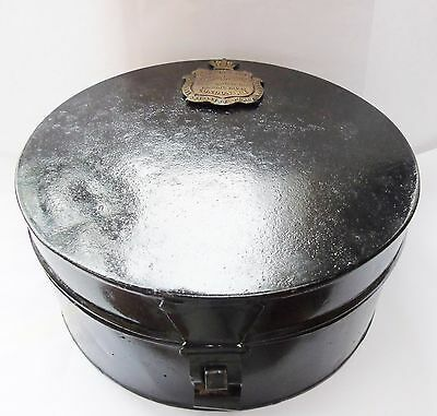 collectable military R A  army 19th century hat helmet tin box