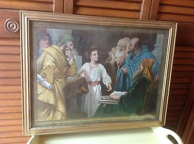 """ANTIQUE FRAMED RELIGIOUS PRINT 1907 by HOFFMAN """"JESUS TEACHNG AT THE TEMPLE"""""""