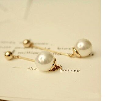 Women's Elegant Gold Plated Long Bar And Faux Pearl Earrings Jewellery gift UK