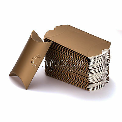 50 Gold Pillow Favour Boxes Anti-Scratch 6.5x9cm Candy Gift Boxes Wedding Party