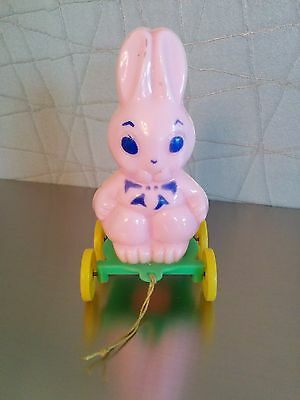 "E. Rosen ""Pink ""Bunny on Wheels- Candy Container 1940-50's"
