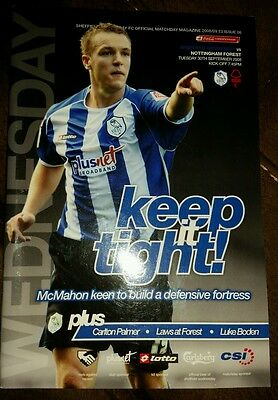 2008-09  SHEFFIELD WEDNESDAY v NOTTINGHAM FOREST - EXCELLENT CONDITION