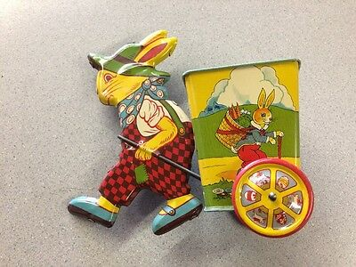 Rare J. Chein Litho Tin Rabbit Pulling Cart Great Condition! See Photos!!