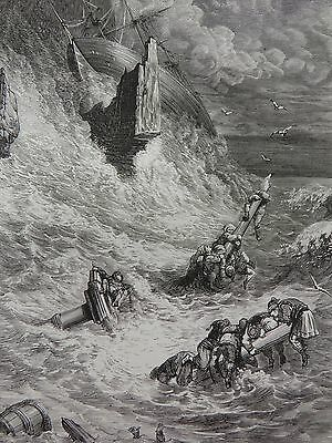 Sinbad the sailor by Gustave Dore Antique Print C. 1880 (169)