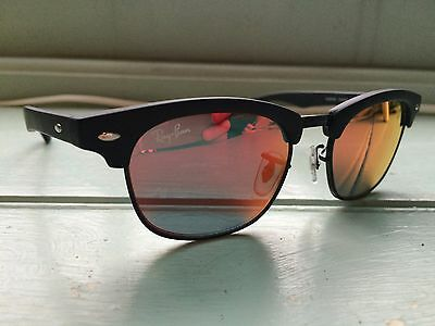 Junior Rayban Clubmaster Sunglasses, Black Frame with Red Lenses