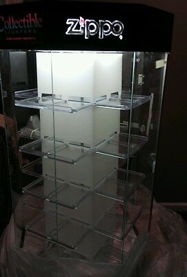 NOS New Vintage ZIPPO CIGARETTE LIGHTERS Illuminated rotating STORE DISPLAY CASE
