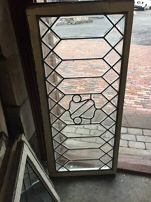 Sg 1134 Antique All Beveled Glass Geometric Design Transom Window 21.25 X 48""