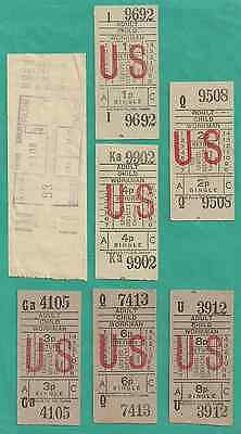 Bus tickets; UNITED SERVICES, Doncaster area, s. Yorks.