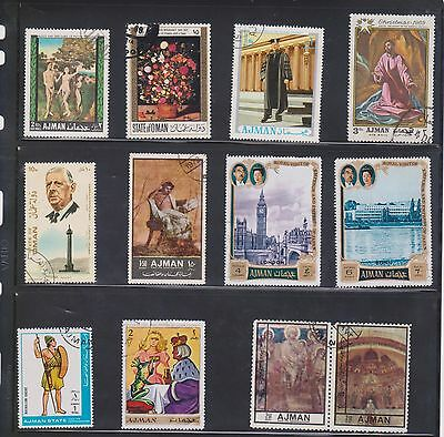 (U1-9) 1970 AJMAN mix of 12stamps values to 4d (G)