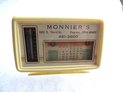 Vintage Monnier's Dayton Ohio Advertising Desk Calendar With Thermometer