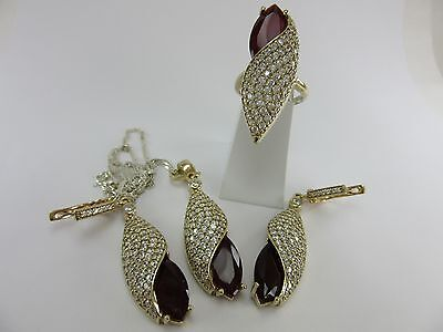 Turkish Handmade 925 Sterling Silver Ladies' Necklaces&Earrings&Ring Sets Ruby