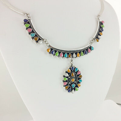 PRECIOUS TAXCO 925 VINTAGE STYLE COLORED BEADS NECKLACE | Mexico Sterling Silver