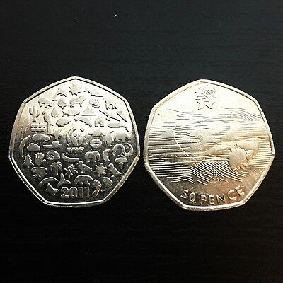 RARE collectable 50 pence coins - WWF -  LONDON OLIMPICS 2012 SWIMMING AQUATICS