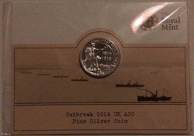 Royal Mint 2014 BUNC £20 Coin Outbreakof First World War 999 Silver