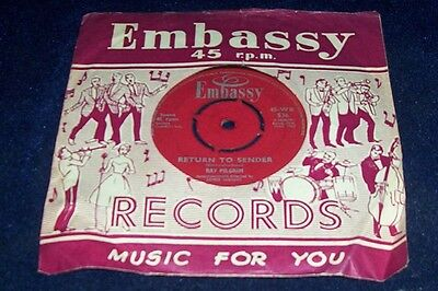 Ray Pilgrim 45 Return To Sender Embassy Label Vg/condition Post Sign For