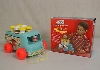 131 Milk Wagon Truck Fisher Price VTG Wooden Pull Toy with Box Bottles Carrier