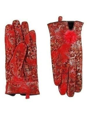 New Women Handmade 100% leather soft lined warm 40s Red Leopard print Gloves s/m