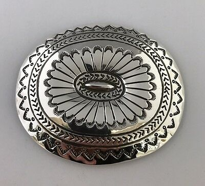 Native American Sterling Silver Hand Made Silver Stamp Belt Buckle