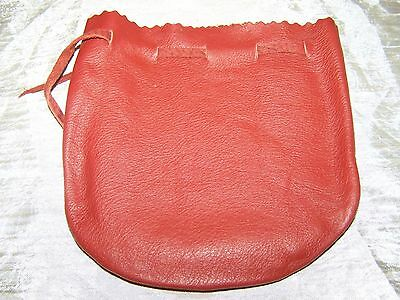 leather dice coin bag pouch medieval renaissance red drawstring