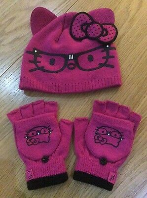 Girls Hello Kitty Hat & Gloves Set BNWOT 4-8yrs