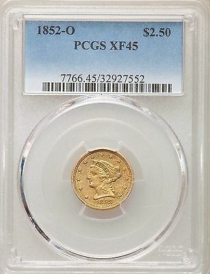 1852-O PCGS XF45 Gold Quarter Eagle $2.50 Scarce New Orleans Low 140k Mintage