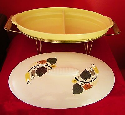 Vtg Mcm Northington Yellow/white Large Oval Divided Casserole Dish On Stand