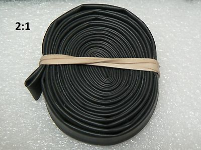 "3/8"" ID / 9mm BLACK Polyolefin 2:1 Heat Shrink tubing - 10' section"