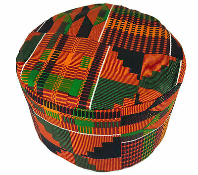 African Kufi Kente Print Hat Unisex Traditional Cap Black History Month Size58cm