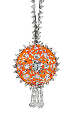 Cracker Box Christmas Ornament Joan's Brooch (Orange Silver and Crystal)