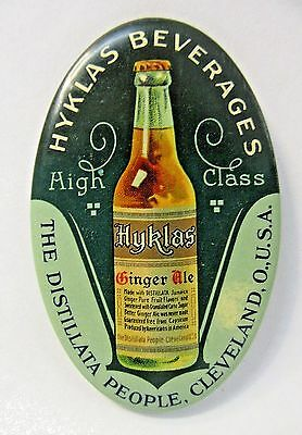c.1910 HYKLAS BEVERAGES GINGER ALE Soda Cleveland OHIO celluloid pocket mirror *