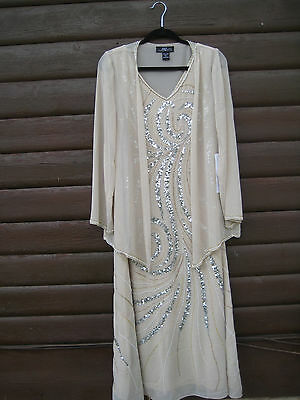 Mother of the Bride Dress, maxi, sheath dress with sheer cover jacket, size 12
