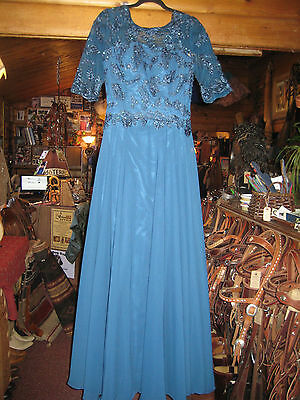 Mother of the Bride Dress, maxi, peacock blue, lace & sequins, size 12