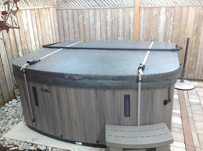 Hot Tub Spa Cover Security Locking Wind Straps in Gray Pair assembly