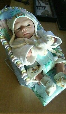 "One of a Kind 3/4 Limb, Soft Body, Clay Baby Boy, 8"" with a Custom Made Chair"