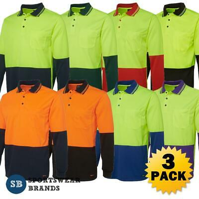 3 x Mens Hi Vis Long Sleeve Polo Shirt Workwear Contrast Quick Dry Tradie 6HVPL
