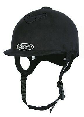 Horse Riding Hard Hat Helmet Swing Pro AIR Black Suede Size 54, 6 5/8 X Small