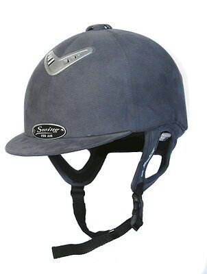 Horse Riding Hard Hat Helmet Swing Pro AIR Grey Suede Size 56, 6 7/8, SALE!