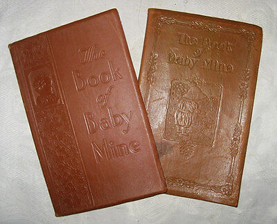 Antique Book of Baby Mine BURKE Family 2 Set 1926 1938 Schenectady NY FILLED IN