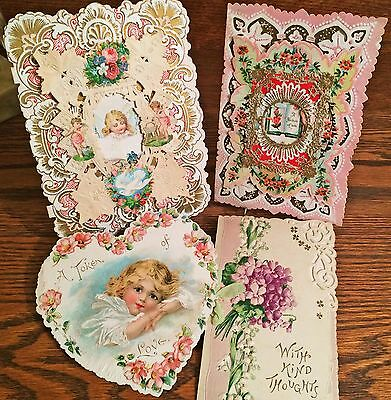 4 Antique Diecut Victorian Valentine Greeting Cards, Applied Scraps, Paper Lace