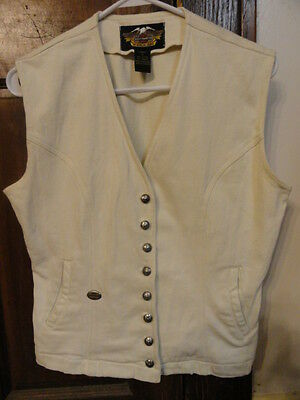 Nwot! Womens Off Winter White Motorcycle Harley Davidson Vest Sz S - Great Gift!